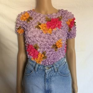 Vintage Floral Scrunchie Top